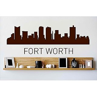 Design with Vinyl Cryst 440 912 Brown Fort Worth Texas Skyline City View Beautiful Scene Landmarks, Buildings and Water