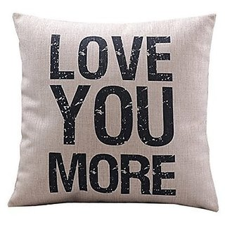 HOSL P22 Cotton Linen Square Vintage Throw Pillow Case Shell Decorative Cushion Cover Pillowcase Quotes - Love You More