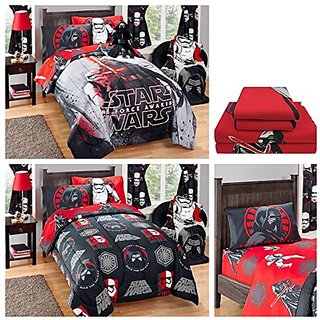 Star Wars Episode VII Complete Kids Bedding Set with Reversible Comforter, Sheets & Pillow Case - Twin