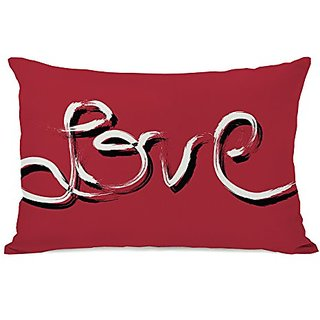 Bentin Home Decor Hand Painted love Throw Pillow w/Zipper by OBC, 14