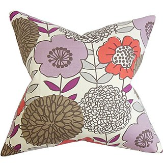 The Pillow Collection P20-D-42347-CURRANT-C100 Veruca Floral Pillow, Purple, 20
