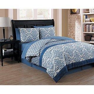 Avondale Manor 8 Piece Corsica Comforter Set, Queen, Blue