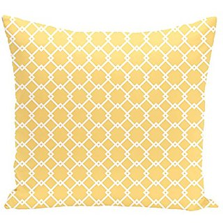 E By Design Link Lock Geometric Print Outdoor Pillow, 20-Inch, Lemon