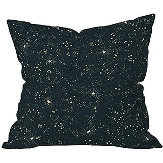 DENY Designs Joy Laforme Constellations In Midnight Blue Throw Pillow, 26 x 26