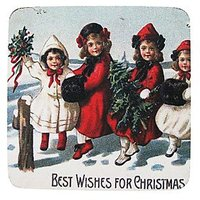 Golden Hill Studio Best Wishes Christmas Coaster (Set Of 8), Multicolored