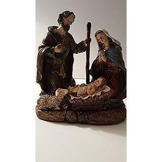 Holy Family Nativity Joseph, Mary and Baby Jesus in a Manger 8