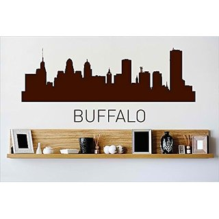 Design with Vinyl Cryst 418 852 Brown Buffalo New York Skyline City View Beautiful Scene Landmarks, Buildings and Water