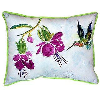Betsy Drake Purple Hummingbird Indoor/Outdoor Pillow, 16