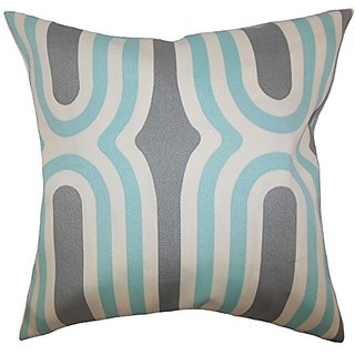 The Pillow Collection P20-D-RALLY-AQUAMARINE Persis Geometric Pillow, Aquamarine, 20