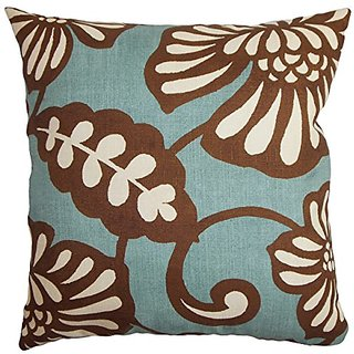 The Pillow Collection P20-D-83137-AQUACOCOA-C100 Talin Floral Pillow, Blue Brown, 20