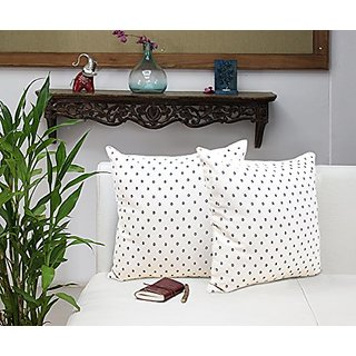 Set of 2 Cotton Throw Pillow Cover Cushion Covers with Spot Patterns Cases for Sofa - Bedding Accessories (18 x 18)