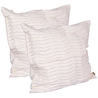 Wrinkle Finish Cushion Cover Without Filling Set of 2 Ecru Classic Design Cotton Piece