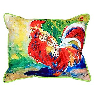 Betsy Drake Red Rooster Indoor/Outdoor Pillow, 20