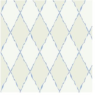 York Wallcoverings Girl Power 2 Ribbon and Harlequin 8 x 10 Wallpaper Memo Sample Off White/White/Light Blue