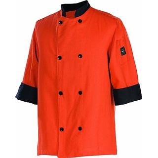 Chef Revival J134SP 24/7 Poly Cotton 3/4 Sleeve Fresh Chef Jacket with Black Trim and Flat Black Button, 4X-Large, Spice