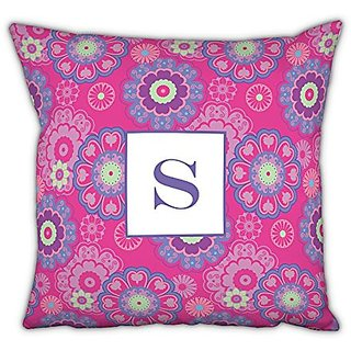 Chatsworth Nadia Square pillow with Single Initial, E, Multicolor