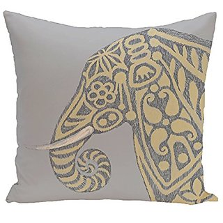 E By Design PAN378GY3YE4-16 Inky Animal Print Pillow, 16