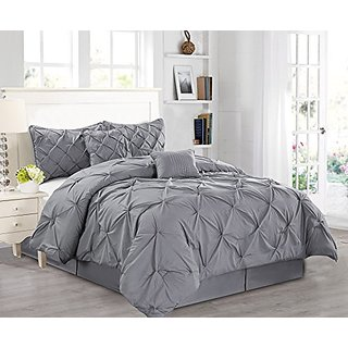 6 Pieces Luxury Solid Grey Pinch Pleat Silver Stripe Comforter Set King Size Bedding