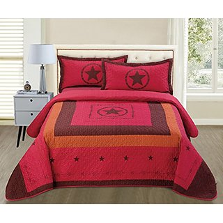 3-piece Western Lone Star Barb Wire Cabin / Lodge Quilt Bedspread Coverlet Set (King, Burgundy)