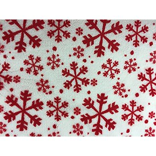 Christmas Super Soft Plush Throw Blanket, White with Red Snowflakes, 50 Inches x 60 Inches 100 % Polyester Fleece - Chri