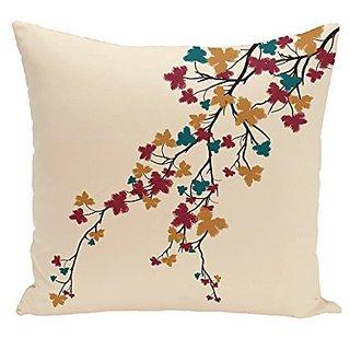 E By Design PFN340BL38-20 Maple Hues Flower Print Pillow, 20