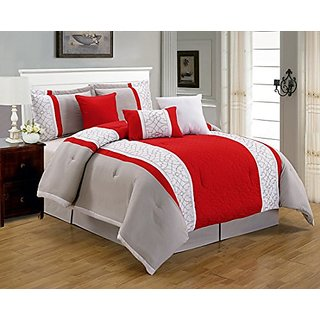 7 Pieces Luxury Red, Beige and White Quilted Comforter Set / Bed-in-a-bag King Size Bedding