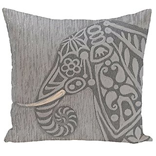 E By Design PAN377GY2GY1-18 Inky Animal Print Pillow, 18