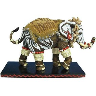 4.5 Inch Zebra Rings Decorated Elephant Collectible Figurine