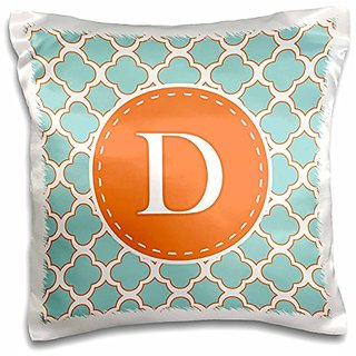 3dRose Letter D Monogram Orange and Blue Quatrefoil Pattern-Pillow Case, 16 by 16
