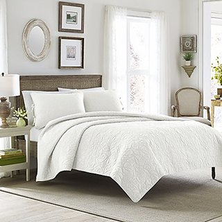 Laura Ashley Felicity Cotton Reversible Quilt Set, White, Full/Queen