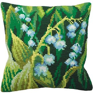 Muguet Gauche Pillow Cross Stitch Kit-15-3/4X15-3/4