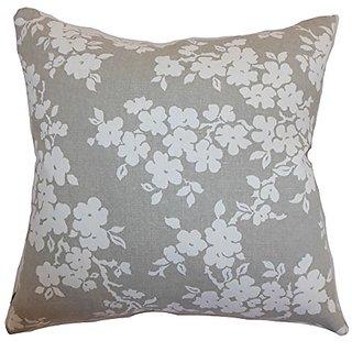 The Pillow Collection Vieste Floral Smoke Pillow, 20