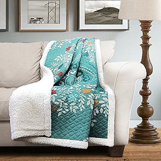 Lush Decor Newbold Sherpa Throw , 60 x 50 Inches, Blue