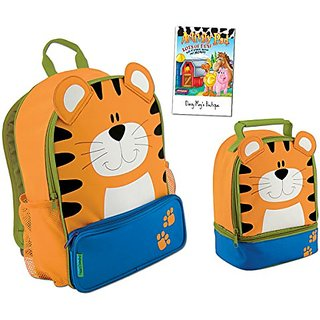 Stephen Joseph Boys Sidekick Tiger Backpack and Lunch Pal with Coloring Activity Pad