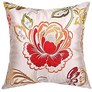 DECOPOW Embroidered Throw Pillow Red Flower,Flower Embroidery Throw Pillows18