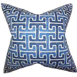 The Pillow Collection Unai Geometric Pillow, Blue