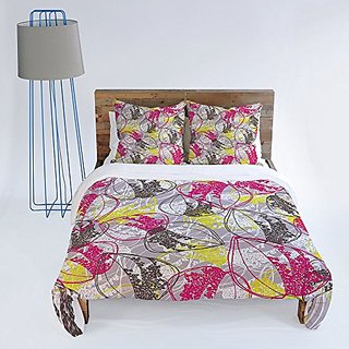 DENY Designs Rachael Taylor Organic Retro Leaves Duvet Cover, Queen
