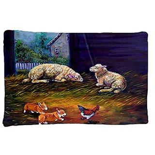 Carolines Treasures 7322PILLOWCASE Corgi Chaos In The Barn with Sheep Fabric Standard Pillowcase, Large, Multicolor