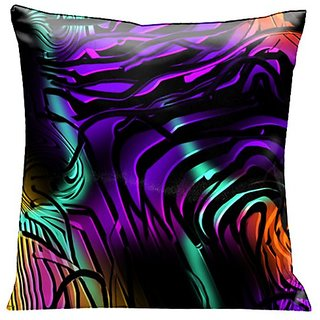 Lama Kasso Contempo Mystery at Midnight 1, Black Swirls Over Deep Purple, Orange and Green Satin 18-Inch Square Pillow,