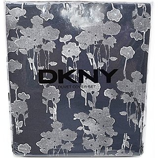 DKNY Duvet Cover Grey Floral Outline Silhouette Cover 3pc Set Full Queen 100% Cotton Bedding Ash Gray White Charcoal Gre