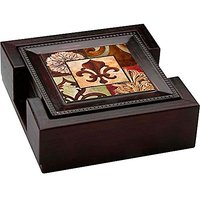 Fleur De Lis - 4 Coasters With Dark Walnut Coaster Holder