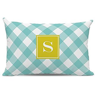 Whitney English Buffalo Check Lumbar Pillow with Single Initial, Y, Multicolor