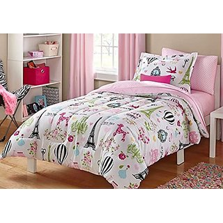 I love Paris Comforter, Sheets, Pillow Cases Bedding Set and Exclusive Linens N Beyond LED Simple Touch Key Chain (Twin)