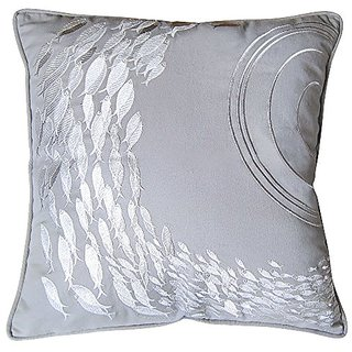 Rightside Design I Sea Life Collection Fish School Embroidered Indoor Cotton Pillow, Silver/Grey