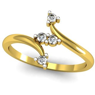 JewelHub SI-IJ Diamond  Ring 0.11 ct /1.78 gm 18k Yellow Gold
