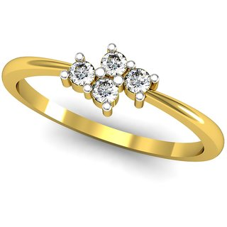 JewelHub SI-IJ Diamond  Ring 0.12 ct /1.64 gm 18k Yellow Gold