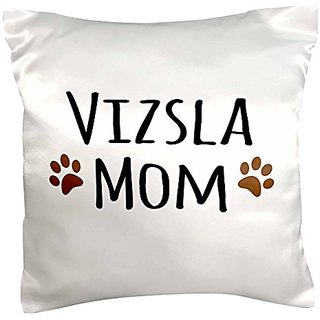 3dRose pc_154211_1 Vizsla Dog Mom Doggie x Breed Muddy Brown Paw Prints Doggy Lover Proud Mama Pet Owner Love Pillow Cas