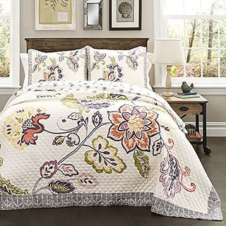 Lush Decor Aster Quilt 3 Piece Set, Full/Queen, Coral/ Navy