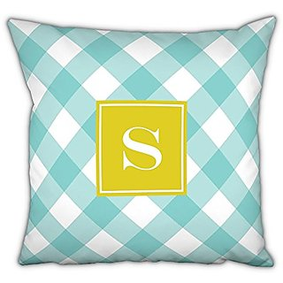 Whitney English Buffalo Check Square Pillow with Single Initial, N, Multicolor