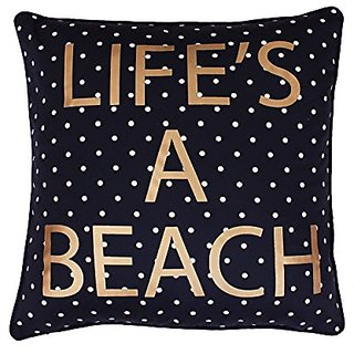 Thro by Marlo Lorenz Lifes A Beach Foil Pillow, 18 x 18